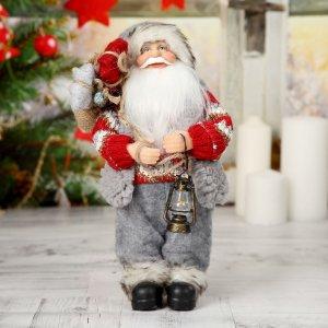 Дед мороз в вязаном костюме с фонарём 30 см Зимнее волшебство