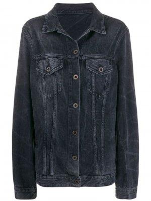 Джинсовая куртка из вареного денима Unravel. Цвет: черный