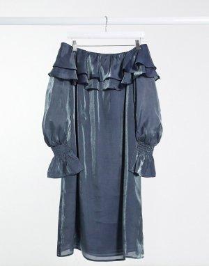 Серебристое платье с открытыми плечами и эффектом металлик -Серебристый Elvi