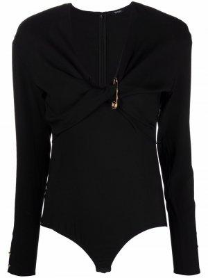 Боди с драпировкой Versace. Цвет: черный