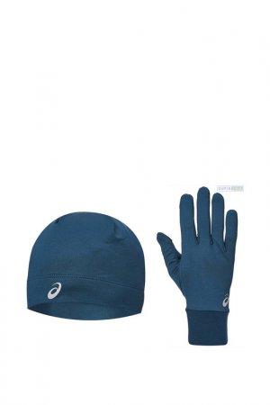 Шапка и перчатки БЕГ PACK Asics. Цвет: синий