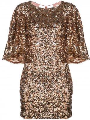 Платье мини Faye с открытой спиной Shona Joy. Цвет: золотистый