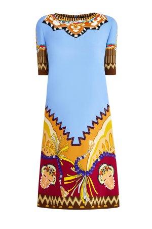 Платье-трапеция с этническим макро-принтом и короткими рукавами ETRO. Цвет: мульти