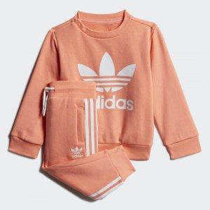 Комплект: свитшот и брюки Crew Originals adidas. Цвет: белый