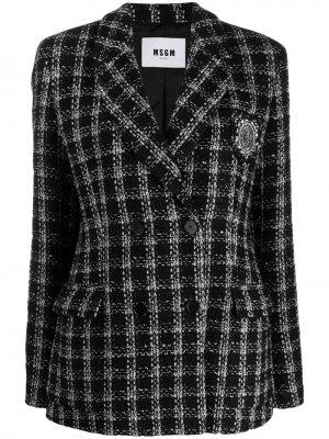 ,двубортный твидовый пиджак MSGM