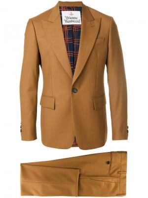 Строгий костюм с принтом на подкладке Vivienne Westwood. Цвет: коричневый