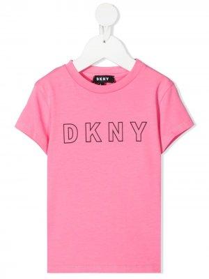 Футболка с логотипом Dkny Kids. Цвет: розовый