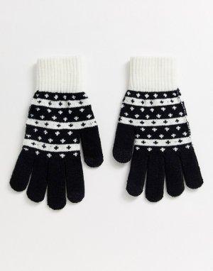 Черно-белые перчатки для сенсорных экранов с узором Фэйр-Айл -Мульти ASOS DESIGN