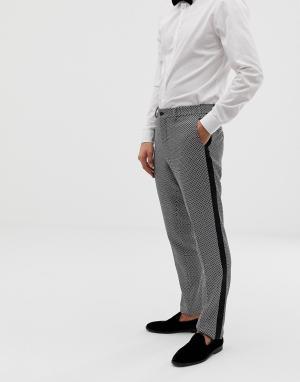 Серо-черные брюки слим под смокинг Premium Jack & Jones. Цвет: серый
