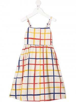 Клетчатое платье из органического хлопка Bobo Choses. Цвет: нейтральные цвета
