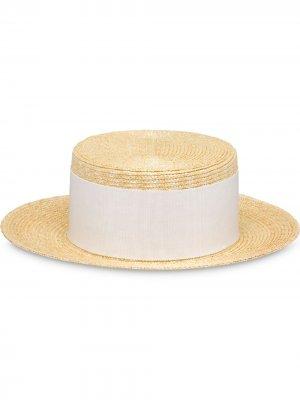 Соломенная шляпа с бантом Prada. Цвет: нейтральные цвета