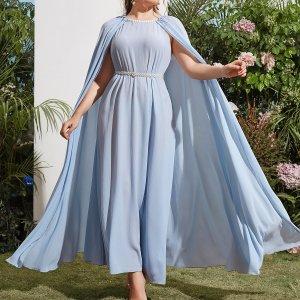 Размера плюс Вечернее платье с кружевной отделкой плащ без пояса SHEIN. Цвет: нежно-голубой