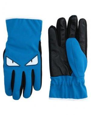 Перчатки FENDI. Цвет: лазурный