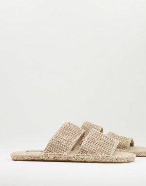 Бежевые плетеные эспадрильи -Светло-бежевый цвет ASOS DESIGN
