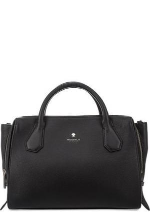 Кожаная сумка с тремя отделами Modalu London. Цвет: черный