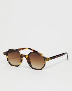 Солнцезащитные очки в шестиугольной черепаховой оправе -Коричневый River Island