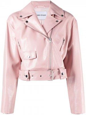 Укороченная байкерская куртка из искусственной кожи STAND STUDIO. Цвет: розовый