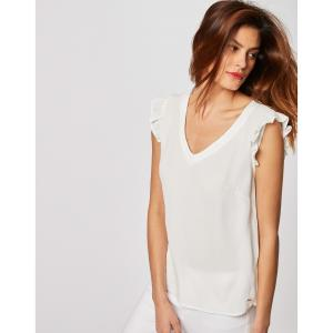Блузка с короткими рукавами и воланами MORGAN. Цвет: экрю