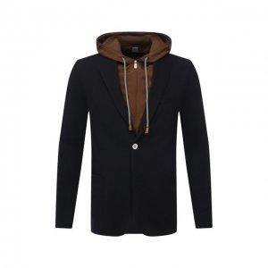Хлопковый пиджак Eleventy Platinum. Цвет: синий