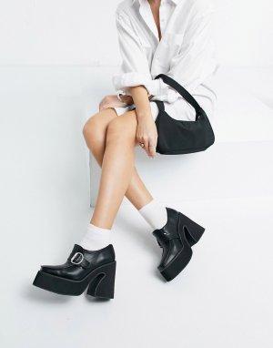 Черные лоферы из экокожи на каблуке и массивной подошве -Черный цвет Koi Footwear