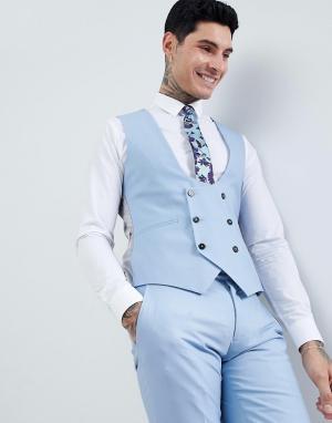 Голубой супероблегающий жилет Wedding Twisted Tailor. Цвет: синий