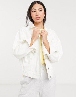 Белая джинсовая куртка oversized из органического хлопка -Белый Weekday