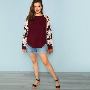 Большая блузка с цветочным рукавом круглым вырезом SHEIN. Цвет: бургундия