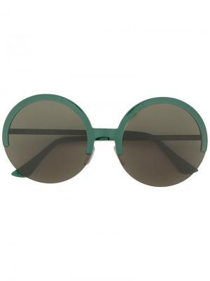 Солнцезащитные очки в круглой оправе Marni Eyewear. Цвет: зелёный