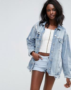Джинсовая куртка с необработанным краем Missguided. Цвет: синий