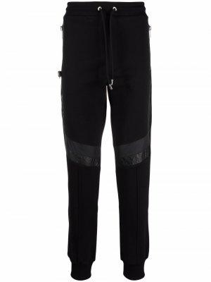 Faux leather panelled track trousers Les Hommes. Цвет: черный