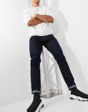 Темные выбеленные джинсы с прямым зауженным кроем 3301-Голубой G-Star