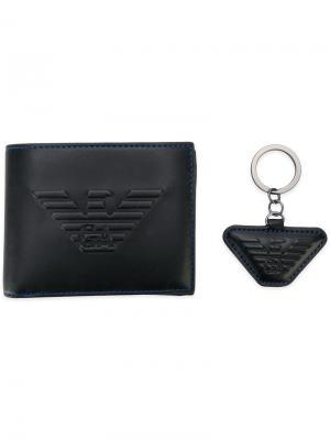 Комплект из брелка и бумажника Emporio Armani. Цвет: черный