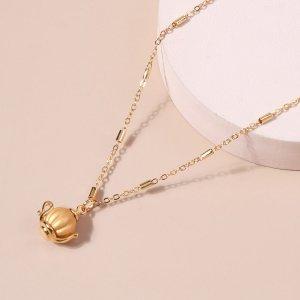 Ожерелье с чайником SHEIN. Цвет: золотистый