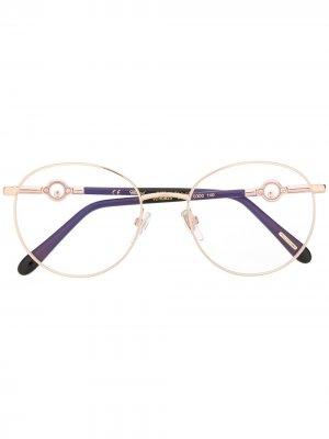 Очки в оправе с кристаллами Chopard Eyewear. Цвет: золотистый