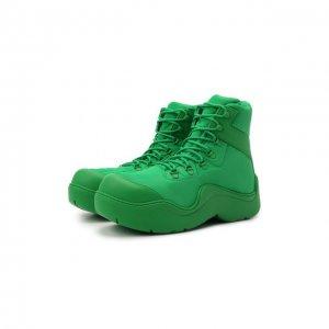 Текстильные ботинки Puddle Bomber Bottega Veneta. Цвет: зелёный