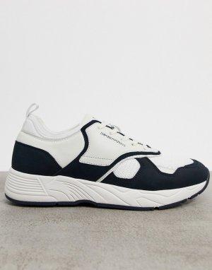 Бело-синие кожаные кроссовки колор блок -Белый Emporio Armani