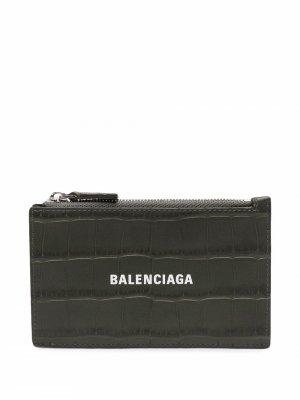 Картхолдер на молнии с логотипом Balenciaga. Цвет: зеленый