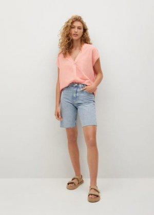 Блузка оверсайз с принтом - Gondole Mango. Цвет: пастельно-розовый