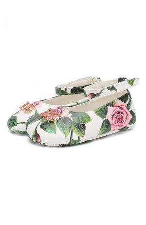 Кожаные пинетки Dolce & Gabbana. Цвет: белый