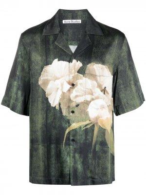 Рубашка с короткими рукавами и цветочным принтом Acne Studios. Цвет: зеленый