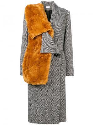 Пальто с меховой отделкой Au Jour Le. Цвет: черный
