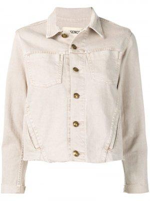 Укороченная джинсовая куртка L'agence. Цвет: бежевый