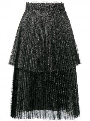 Ярусная юбка из тюля с блестками Christopher Kane. Цвет: черный