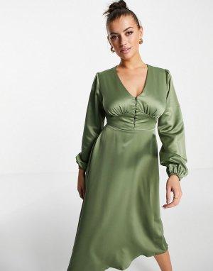 Платье миди цвета хаки на пуговицах -Голубой Flounce London