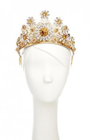 Позолоченная диадема с кристаллами Swarovski Dolce & Gabbana. Цвет: золотой