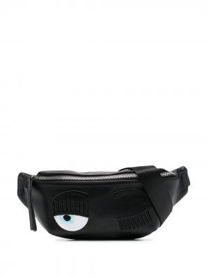 Поясная сумка с вышивкой Wink Chiara Ferragni. Цвет: черный