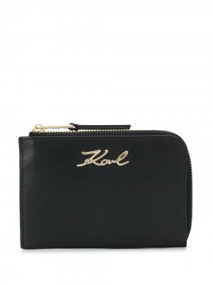 Ключница K/Signature на молнии Karl Lagerfeld. Цвет: черный