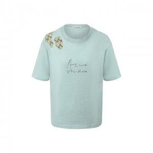 Хлопковая футболка Acne Studios. Цвет: синий
