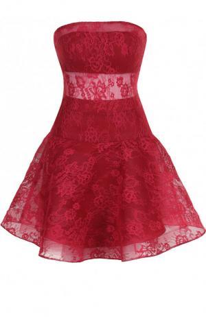 Кружевное платье-бюстье с пышной юбкой Basix Black Label. Цвет: бордовый