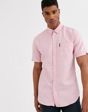 Однотонная оксфордская рубашка с короткими рукавами -Розовый Ben Sherman